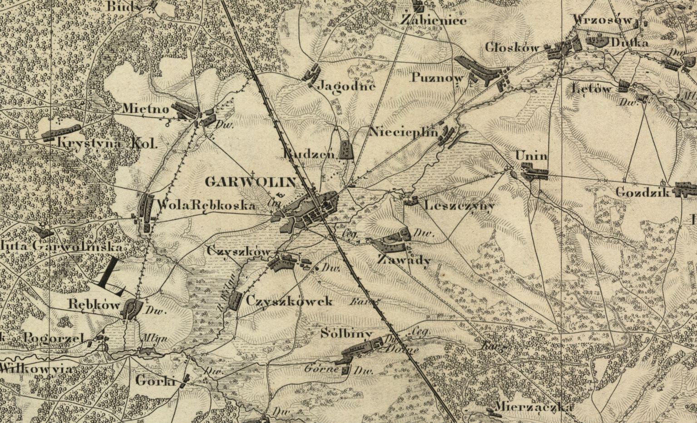 Garwolin i okolice 1850 r. - mapa
