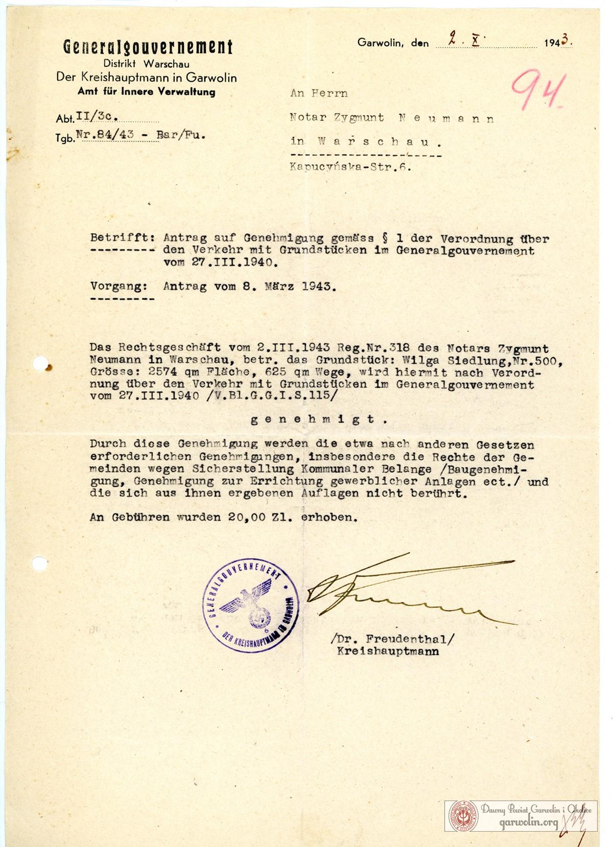 Dokument z podpisem Karla Freudenthala