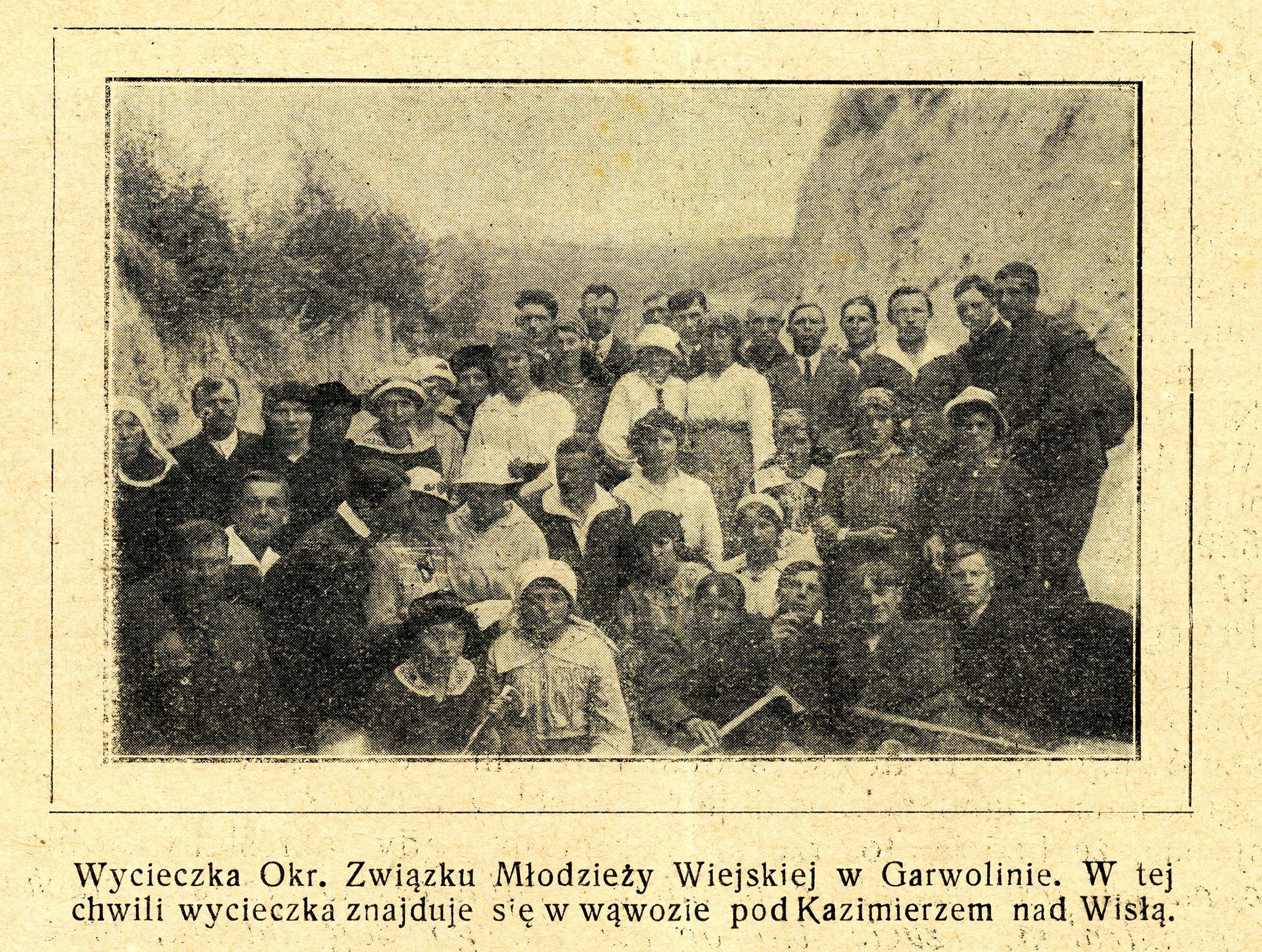 Wycieczka Okręgowego Związku Młodzieży Wiejskiej w Garwolinie do Kazimierza nad Wisłą.