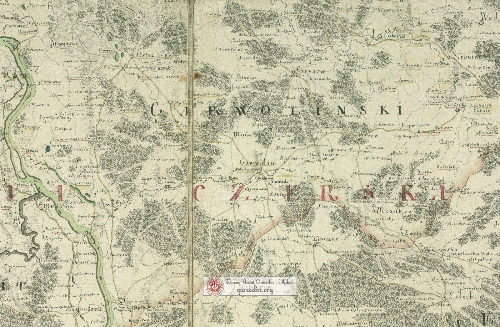 Powiat garwoliński na mapie z 1783 r.