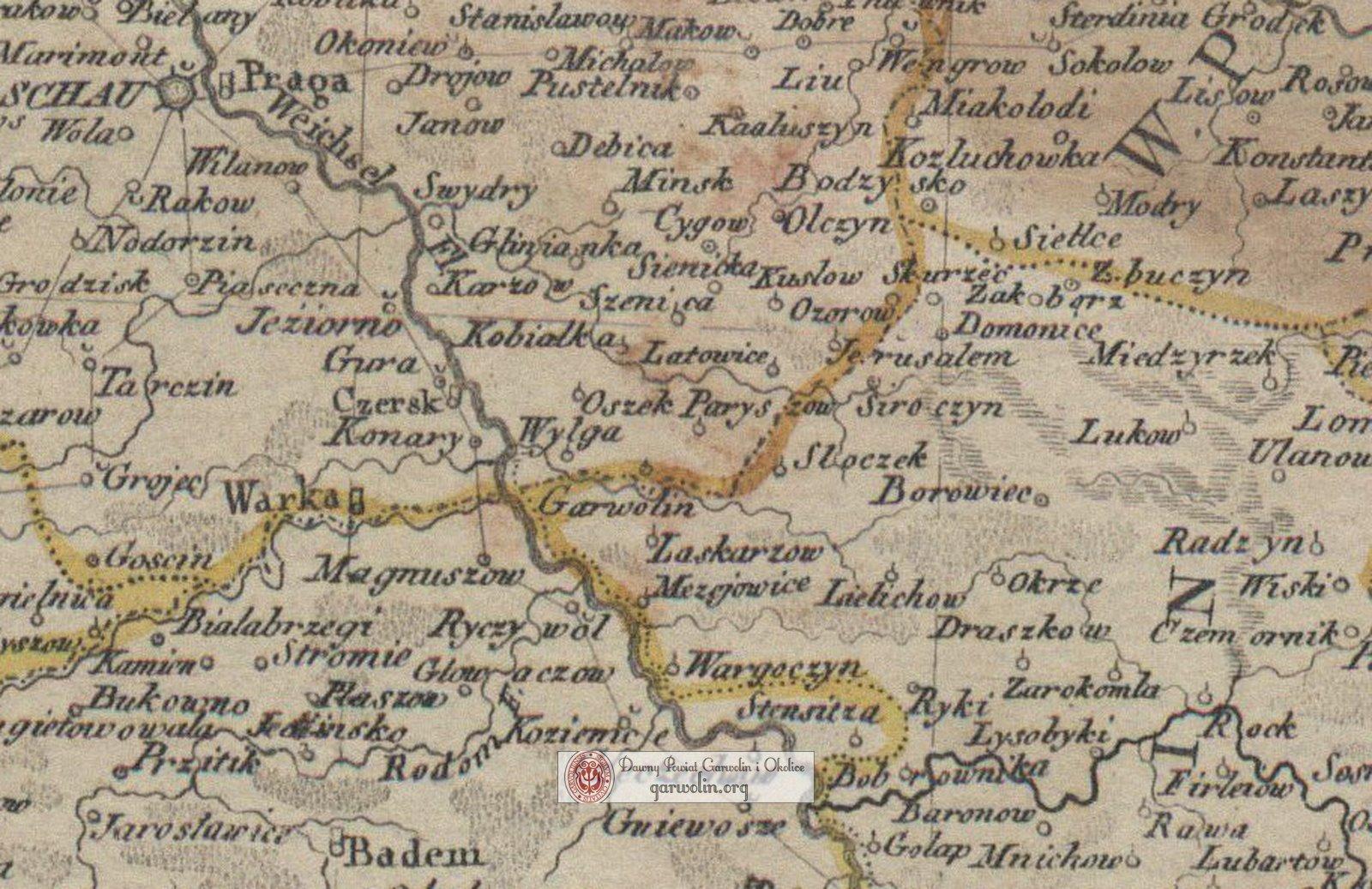 Powiat garwoliński na mapie z 1793 r.