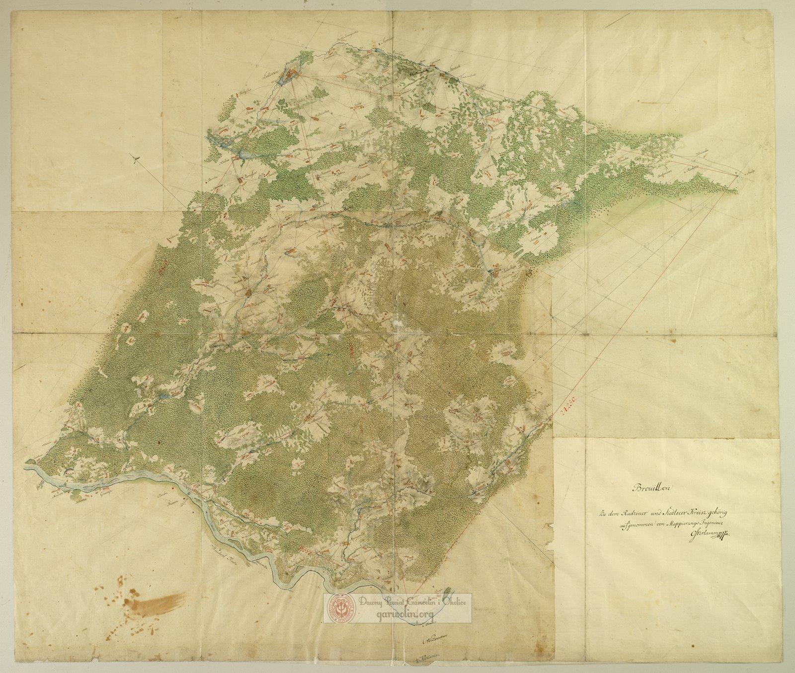 Szczegółowa Mapa okolic Garwolina z 1796 r.