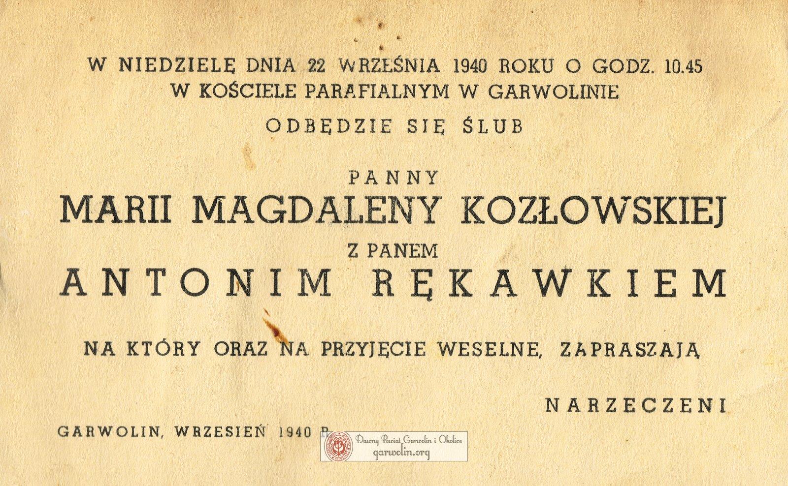 Ślub Marii Kozłowskiej i Antoniego Rękawka - 1940 r.